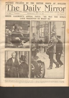 ORIGINAL NEWSPAPER FROM THE EASTER RISING 1916: SIR ROGER CASEMENT TRIAL NO 2