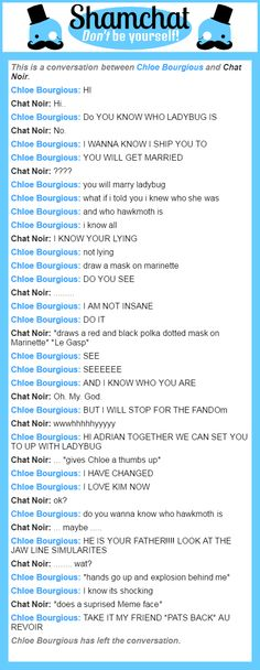 A conversation between Chat Noir and Chloe Bourgious