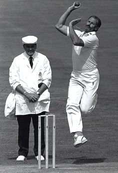 The inimitable Dennis Lillee was Australia's premier fast bowler throughout the 1970s and into the early 1980s. In 1970/71, he allegedly gave an interview on the BBC where he talked of aiming deliveries at the batsmen, preferring a spot just below the heart. A nice bloke in reality, he became a favourite with English spectators, too, and was Australia's leading wicket-taker with 355 wickets, until the advent of Glenn McGrath and Shane Warne.