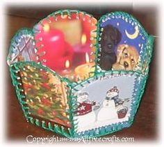 vintage recycled Christmas card basket