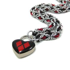 Submissive Day Collar Harley Quinn Inspired Red and Black Heart Lock (80.00 USD) by BrainofJen
