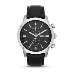 Fossil Townsman Chronograph Leather Watch - Black FS4866 | FOSSIL®