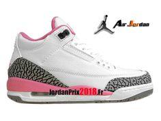 best service bf602 5a473 Chaussure Basket Jordan Prix Pour Femme Air Jordan 3 Retro GS Blanc Rose  398614-141