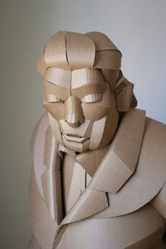 in the warren king cardboard shaoxing villagers series, the artist sculpts residents of his grandparents' home village china, one individual at a time. Cardboard Sculpture, Paper Mache Sculpture, Sculpture Art, Paper Art Design, Sculpting, Butterfly, Statue, Superhero, Creative