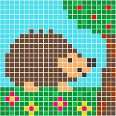 Egel   Pixel Party Beaded Cross Stitch, Crochet Cross, Cross Stitch Charts, Cross Stitch Patterns, Knit Crochet, Embroidery Sampler, Cross Stitch Embroidery, Image Pixel Art, Crochet Hedgehog