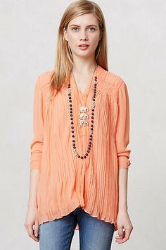 love this color! Pleated Santari Buttondown #anthropologie