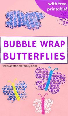 Looking for a fun new way to paint? Try using bubble wrap to make these cute reusable DIY butterfly stamps with your kids! This easy butterfly craft for kids is the perfect craft for toddlers or preschoolers, and it includes a free craft template to make this project super simple and fun! You kids will love this creative DIY bubble wrap craft that uses materials you already have lying around the house. Download the free printable to make this fun butterfly project for kids!