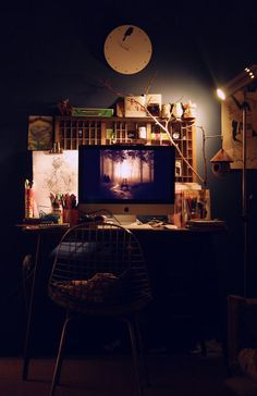 Love the vintage letterpress drawer, task lamp, dark walls.chalkboard paint maybe? Exterior Design, Interior And Exterior, Drawing Desk, Huge Houses, Dark Walls, Architectural Elements, House Rooms, Decoration, Apartment Therapy