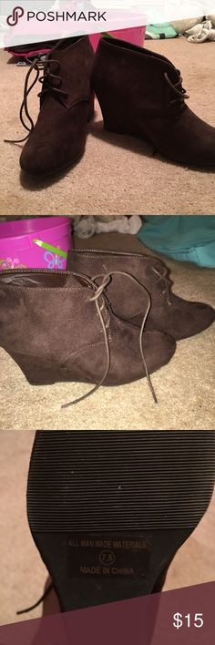Brown Wedge Booties Very cute brown suede material brown wedge booties. Never worn. Shoes