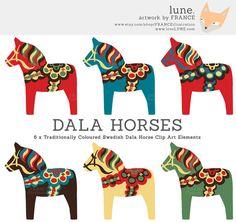Dala Horse Clip Art. Traditional Nordic Folk Art by FRANCEillustration, $6.00