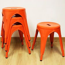 Set of 4/Four 44cm Low Orange Round Metal Stools Industrial/Kitchen/Cafe Seat