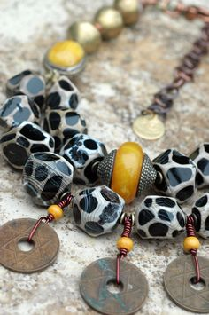 Kenya Necklace: African-Inspired Giraffe Print Agate, Amber and Brass Coin Necklace
