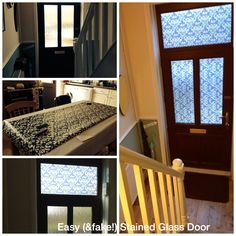 Easy way to make a plain glass door more beautiful. Stick on transfer, found on amazon. Really easy to do!