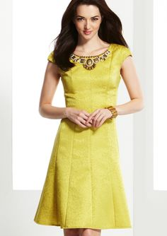 JONES NEW YORK Cap Sleeve Embellished Jacquard Dress