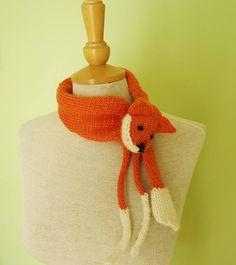 Handknitted Fox Mini Stole Fox Mini Scarf Knitted Fox