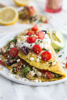Simple Greek Quinoa Omelets with Feta and Tzatziki. - Half Baked Harvest