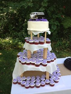 Our amazing VW wedding cake! Thank you Danielle Bolin! Cakes by Danielle! Camper Van Cake, 18th Cake, Gypsy Wedding, Purple Wedding Cakes, Cupcake Cookies, Cupcakes, Bridal Shower Tea, Wedding Officiant, Pastry Cake