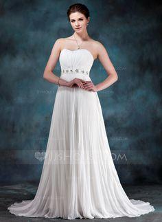 Corte imperial Escote corazón Tren de la corte Gasa Vestido de novia con Bordado Lentejuelas Plisado.