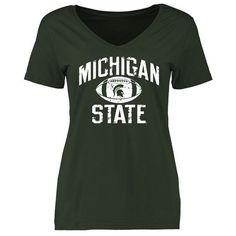 Michigan State Spartans Women's Distressed Football Slim Fit T-Shirt - Green - $19.99