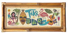 This is a fun modern cross stitch pattern for making a Tiki Bar Sign for your home bar. Straight out of Trader Vics with flamingo and drinks. It