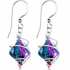 Amazon.com: Handcrafted Spiral Dichroic Glass Earrings MADE WITH SWAROVSKI ELEMENTS: Jewelry