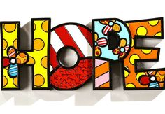 Romero Britto Hope Letters Word Pop Art Figurine * You can find out more details at the link of the image. (This is an affiliate link and I receive a commission for the sales) Art Furniture, Britto Disney, Images Pop Art, School Murals, Graffiti Painting, Arte Pop, Art Graphique, Art Plastique, Elementary Art