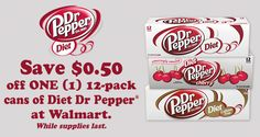 Save $0.50 off ONE(1) 12-pack cans of Diet Dr Pepper® at Walmart OR save $1.00 when you refer a friend. Share the taste you love. Offers while supplies last.
