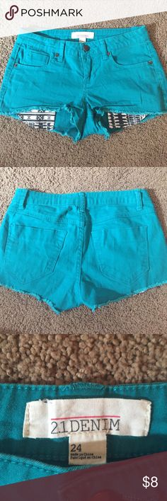 Forever 21 Shorts Forever 21 shorts amazing green color! Perfect condition! Forever 21 Shorts Jean Shorts