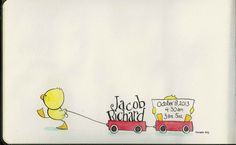 "Ink and watercolour working composite, birth announcement for client ""Just Duckie"" © 2013 Tamara David"