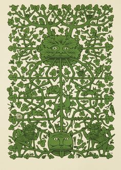 This limited edition screen print celebrates the ancient figure of a the Green Man, symbol and embodiment of the wilds of Nature and the burgeoning. Green Knight, Pagan Symbols, Beltane, Jewish Art, Celtic Art, Fantastic Art, Bookbinding, Folk Art, Screen Printing