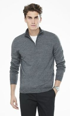 red or stone, large merino wool zip-up mock neck sweater from EXPRESS