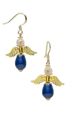 """Earrings with SWAROVSKI ELEMENTS and Gold-Plated """"Pewter"""" Beads"""