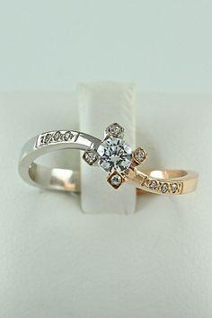 Δίχρωμο μονόπετρο δαχτυλίδι, λευκόχρυσο & ροζ χρυσό, 14 καράτια, Κωδικός WGD002