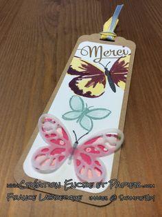 "Signet / Bookmark ... Jeux d'étampes / Stamp Sets ""Watercolor Wings"" + ""Garden in Bloom"" et Framelits ""Papillon Audacieux / Bold Butterfly"" ... www.creationencreetpapier.com"