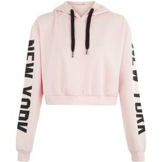Parisian Pink New York Slogan Cropped Hoodie (12 CAD) ❤ liked on Polyvore featuring tops, hoodies, crop tops, sweaters, sweatshirts, pink top, cropped hooded sweatshirt, hoodie crop top, hooded pullover and cut-out crop tops
