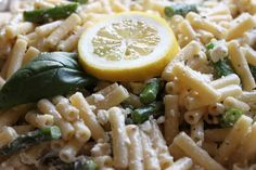 Lemon pasta salad with feta cheese