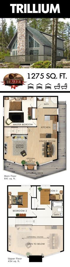 At 1275 sq. ft. the Trillium cottage has more than enough space for your friends and family. The open concept main floor also allows you to enjoy stunning nature views from every room. BeaverHomesAndCottages