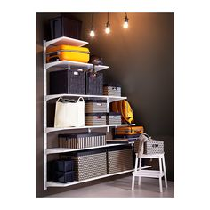 IKEA ALGOT wall upright/shelves Easy to fit under stairs or in a room with a slanted ceiling. Ikea Algot, Attic Renovation, Attic Remodel, Attic Apartment, Attic Rooms, Attic Playroom, Dressing Ikea, Shelving Solutions, Attic Storage