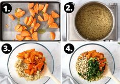the four steps required to prepare this recipe. Sweet Potato Quinoa Salad, Light Recipes, Main Meals, Chana Masala, Side Dishes, Potatoes, Tasty, Vegan