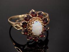 Vintage Opal Garnet Cluster Ring in 9k Gold, 1970s era