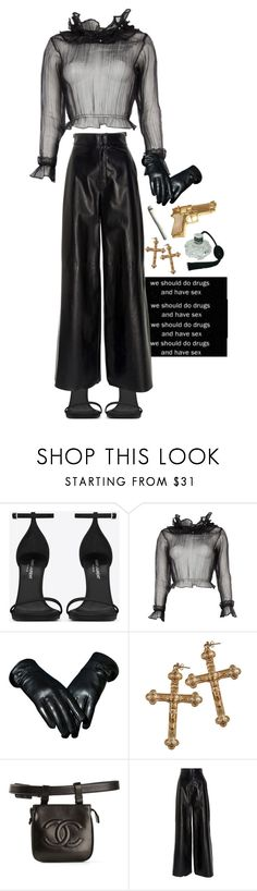 """""""born to die."""" by damndushi ❤ liked on Polyvore featuring Yves Saint Laurent, Rock 'N Rose, Chanel, Jill Stuart and Rock Rebel"""