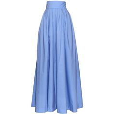 Rosie Assoulin Morning After pleated maxi skirt ($654) ❤ liked on Polyvore featuring skirts, long skirts, blue, high-waist skirt, pleated skirts, long cotton skirts and long pleated skirt