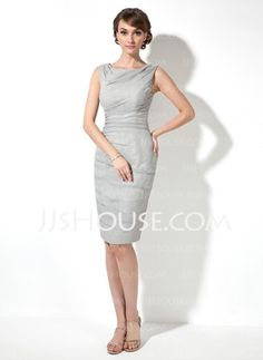 Sheath Cowl Neck Knee-Length Chiffon Mother of the Bride Dress With Ruffle (008017393)