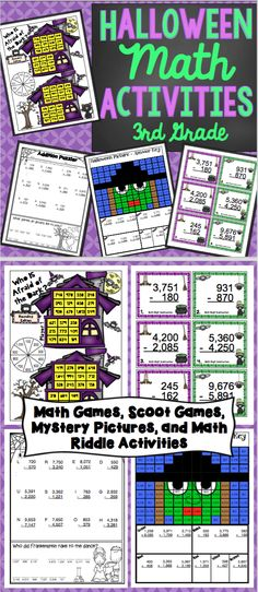 Halloween Math Activities Grade: This math pack is loaded with Halloween… Teaching Activities, Teaching Math, Teaching Ideas, Language Activities, Teaching Resources, Halloween Math, Halloween Activities, Holiday Activities, Play Math Games