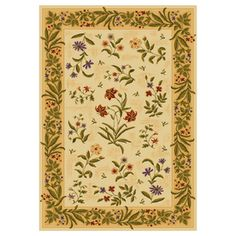 Shaw Living�Summer Flowers Rectangular Yellow Floral Area Rug (Common: 4-ft x 6-ft; Actual: 3-ft 10-in x 5-ft 5-in)