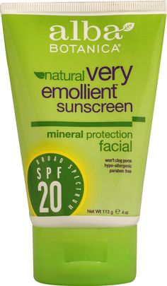 Alba Botanica® Very Emollient Natural Sunscreen Mineral Protection Facial SPF 20