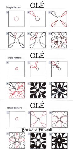 Online instructions for drawing Barbara Finwall's Zentangle® pattern: Olé.