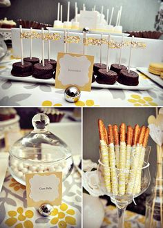 Yellow and white dessert table ideas