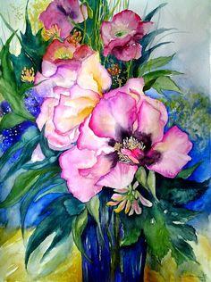 Ute Sturm / Aquarelle, Watercolors: Pink peony Tipp : Aquarellpapier spannen