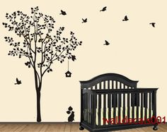 "Vinyl Wall Decal Wall Sticker Tree Decal Murals decor wall art - Happy Tree with birds 80"". $62.00, via Etsy."
